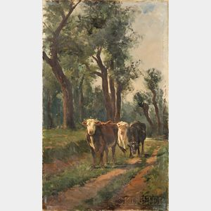 American School, 20th Century    Cows Returning from Pasture