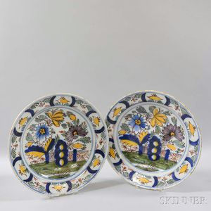 Pair of Dutch Delft Polychrome Ceramic Chargers