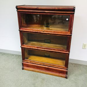 Globe-Wernicke Glazed Cherry Three-stack Barrister Bookcase