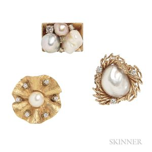 Three Gold, Diamond, and Pearl Rings