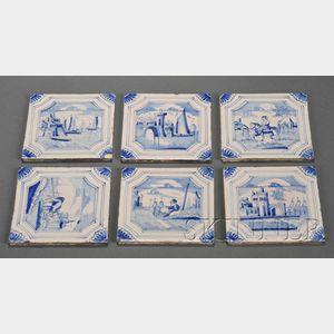 Twenty-five Dutch Delft Blue and White Tiles