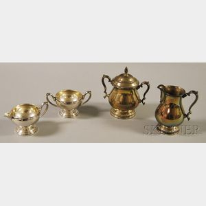Two Sterling Silver Creamer and Sugar Sets