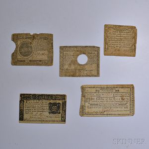 Five Pieces of Colonial and Continental Currency