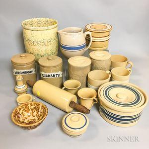 Eighteen Varied Yellowware Table Items