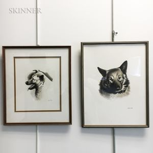 Lowell Francis Hess (American, 1921-2014)      Two Ink Drawings of Dogs:   Dog Sketch