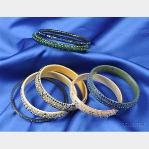 Group of Seven Celluloid and Rhinestone Sparkle Bangles