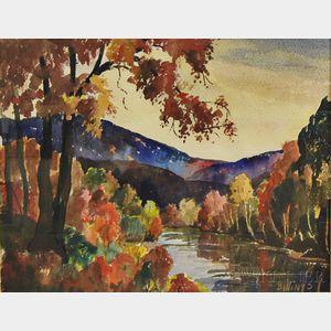 Henry J. Billings (American, b. 1894)      Autumn New England Landscape