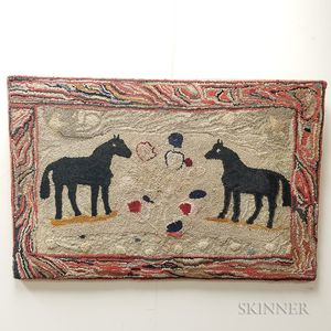 Pictorial Hooked Rug with Horses