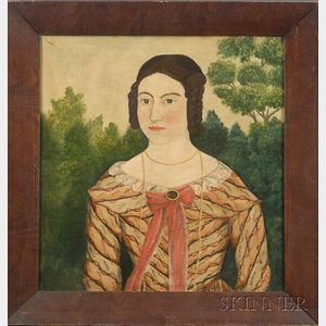 American School, 19th Century    Portrait of a Young Woman in a Patterned Striped Dress.