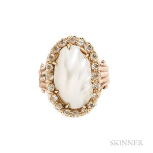 14kt Gold, Diamond, and Pearl Ring