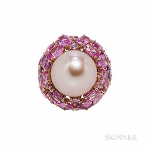 18kt Rose Gold, Pink Freshwater Pearl, and Pink Sapphire Ring