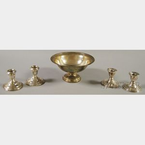 Five Pieces of Weighted Sterling Silver Tableware