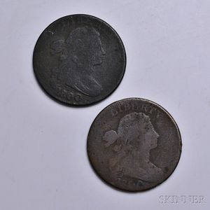 Two 1800 Draped Bust Large Cents