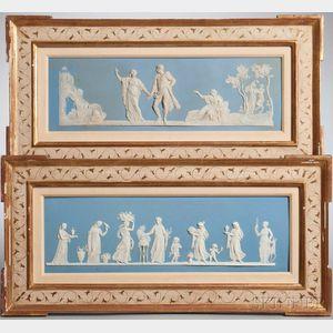 Pair of Wedgwood Solid Light Blue Jasper Plaques