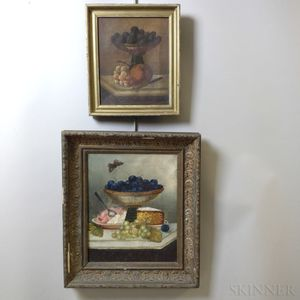 Two Framed Oil on Canvas Still Lifes with Fruit and Compotes