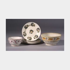 Seven Pieces of  Handpainted Earthenware Pottery