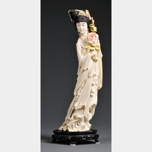 Tall Polychrome Ivory Carving