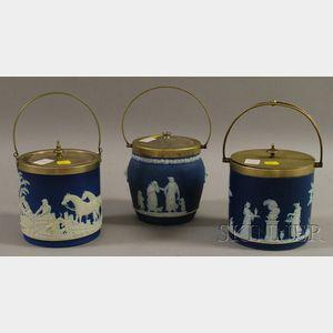 Three Wedgwood Silver-plate Mounted Dark Blue Jasper Dip Biscuit Jars.
