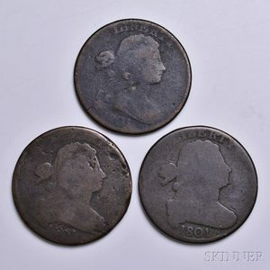 Three 1801 Draped Bust Large Cents