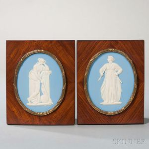 Pair of Wedgwood Solid Blue Jasper Oval Plaques