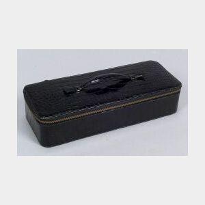 Lady's Black Crocodile Leather Travel Jewelry Case