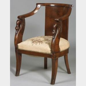 French Empire Provincial Walnut Armchair