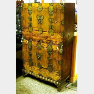 Pair of Korean Brass Mounted Wooden Stacking Chests.
