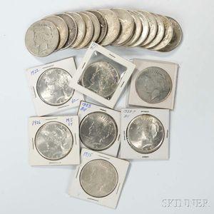 Twenty-four Peace Dollars