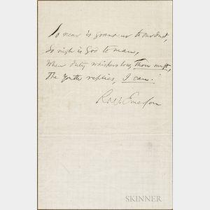 Emerson, Ralph Waldo (1803-1882) Autograph Sentiment Signed.
