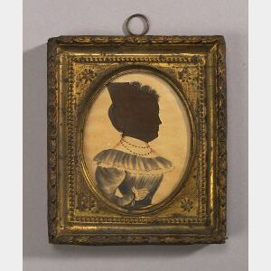 American School, 19th Century,  Miniature Silhouette Portrait of Puah Mellon Putnam.