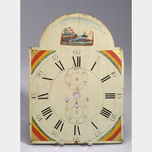Painted Wooden Clock Face.