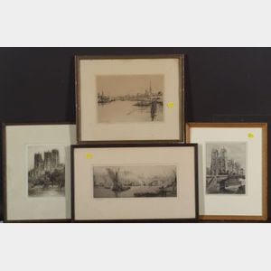 Lot of Four City Views:    Eugène Bejot (French, 1867-1931), Le Quai de Paris - Rouen