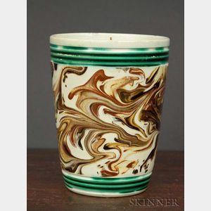 Slip-marbled Mochaware Tumbler
