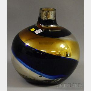 Mercury and Colored Blown Glass Demijohn-form Vessel