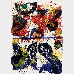 Sam Francis (American, 1923-1994) and Walasse Ting (Chinese/American, 1929-2010) Blue Eye Over Red China - Ting Tong - Uncle Sam lov...
