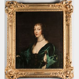 After Sir Anthony van Dyck (Flemish, 1599-1641), Portrait of Henrietta Maria de Bourbon, Queen of England, Bust-length, Wearing a Blue
