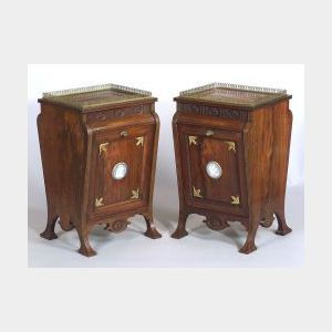 Pair of Aesthetic Movement Wedgwood and Brass Mounted and Rosewood Coal Bins