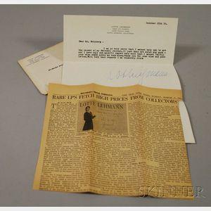 Lotte Lehmann Signed Letter