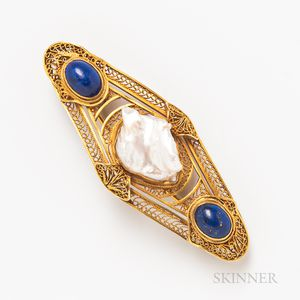 14kt Gold, Baroque Pearl, and Lapis Brooch