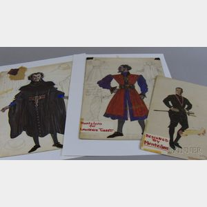 Nineteen Unframed Broadway Costume Designs