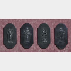 Four Wedgwood Black Basalt Plaques
