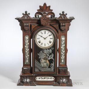 "William L. Gilbert ""Amphion"" Mirrored Shelf Clock"