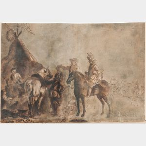 School of Philips Wouwerman (Dutch, 1619-1668)      Horsemen at an Encampment