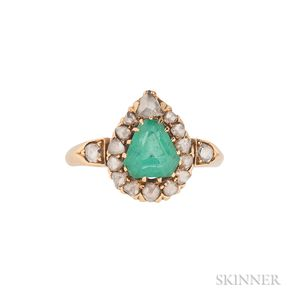 Gold, Emerald, and Diamond Ring