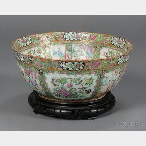 Famille Rose Porcelain Punch Bowl with Carved Wooden Base