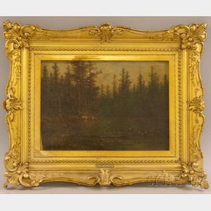 Framed Oil on Canvas of a Woodland Pond by John Olson Hammerstad      (Norwegian/American, 1842-1925)