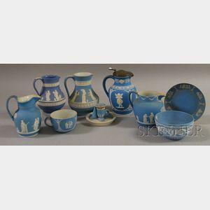 Nine Wedgwood Light Blue Jasper Items