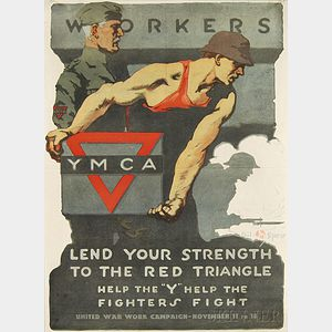 Gil Spear Workers Lend Your Strength to the Red Triangle   U.S. WWI   Lithograph Poster