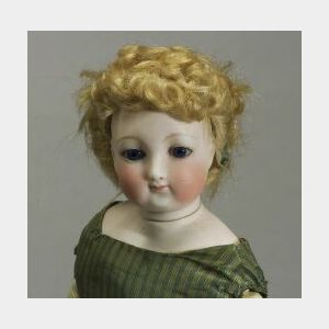 Early French Bisque Lady Doll with Flanged Locking-Neck Mechanism