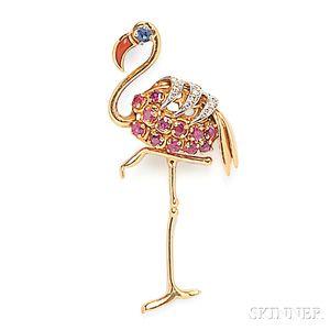 18kt Gold Gem-set Flamingo Brooch